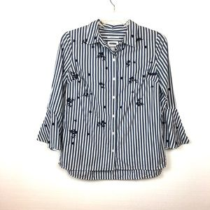 Charter Club | Career Button Up Top Bell Sleeve